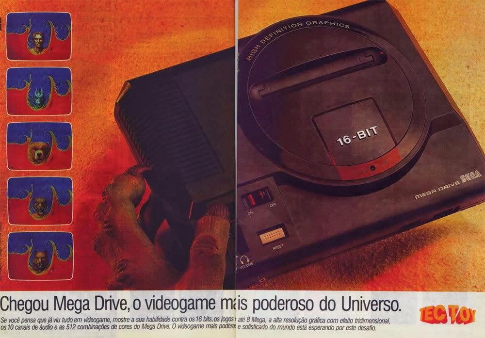Propaganda à época do lançamento do Mega Drive (a.k.a. Sega Genesis) no Brasil