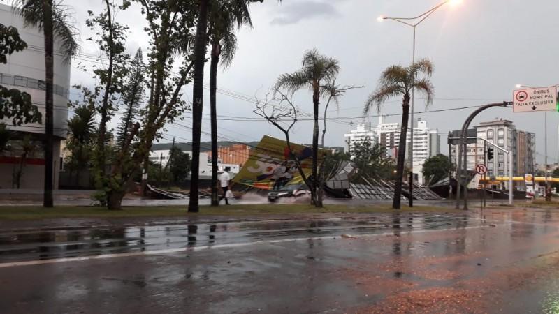 Imagem do temporal em Criciúma-SC em 18/12/2018