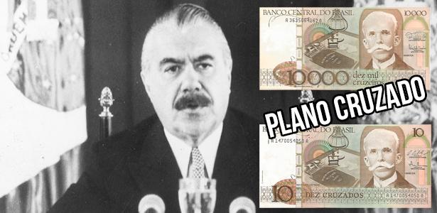"""Presidente José Sarney cria o """"Plano Cruzado"""" e muda o nome da moeda nacional"""