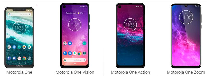 A linha One em seus diversos sabores que estão disponíveis no Brasil... da versão original ao Motorola One Zoom