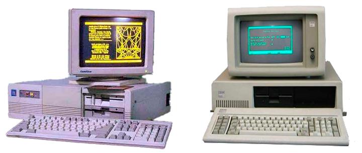 Monitores CRT com fósforo âmbar ou fósforo verde eram as opções para os primeiros computadores pessoais disponíveis