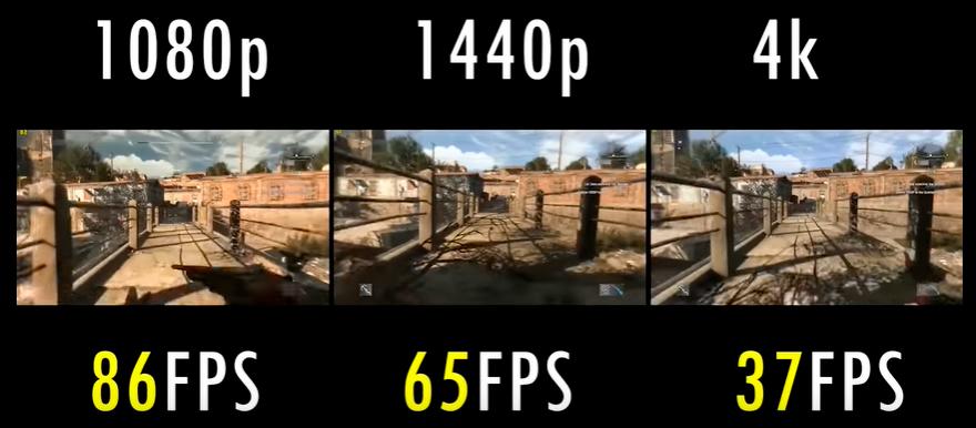Um jogo sendo executado em um mesmo computador com resoluções diferentes. Quanto mais resolução, mais recursos são exigidos da máquina
