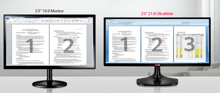 """Comparação da área de trabalho de um monitor 16:9 de 23"""" e o LG 25UM58"""