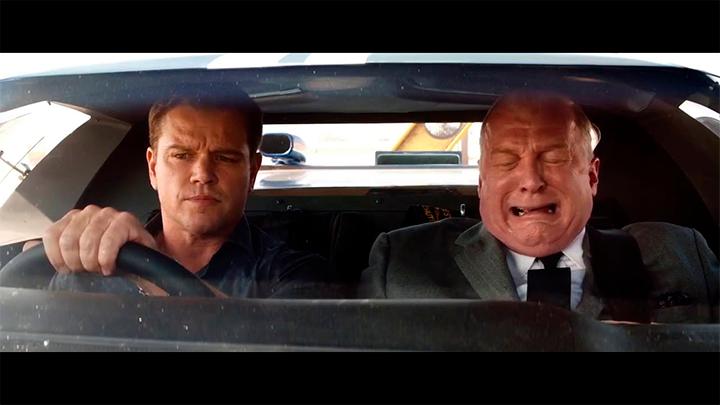 O engenheiro Carroll Shelby (Matt Damon) com Henry Ford II (Tracy Letts) negociando para ter Ken Miles (Christian Bale) como seu piloto de testes