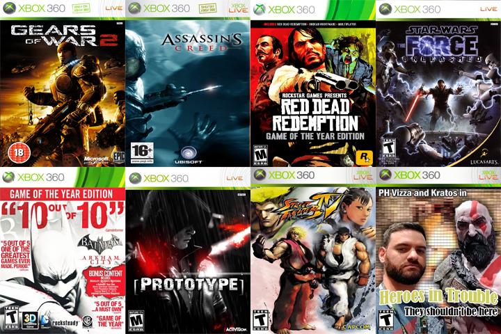 Alguns dos jogos que fizeram minha aventura no Xbox... Claro que a lista é bem maior