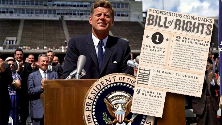 John F. Kennedy estabeleceu as bases dos direitos do consumidor em 15 de março de 1962