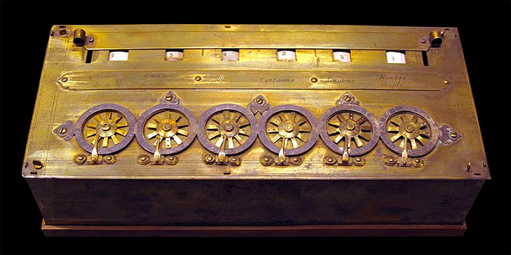 A Pascaline... historicamente, a primeira calculadora mecânica