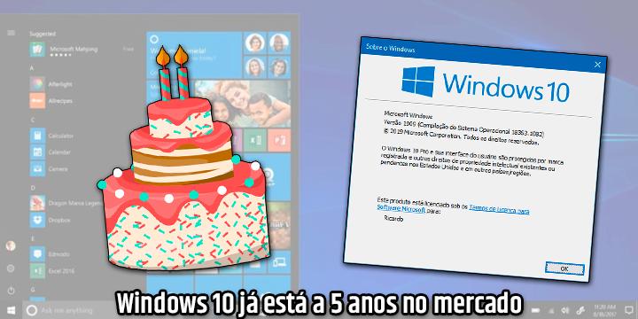 Windows 10 já está a 5 anos no mercado